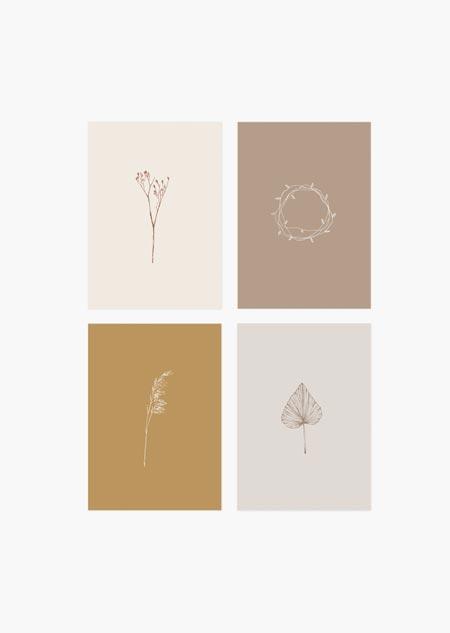 Botanische set van 4 - A5