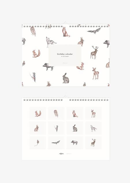 Birthday calendar - in the forest