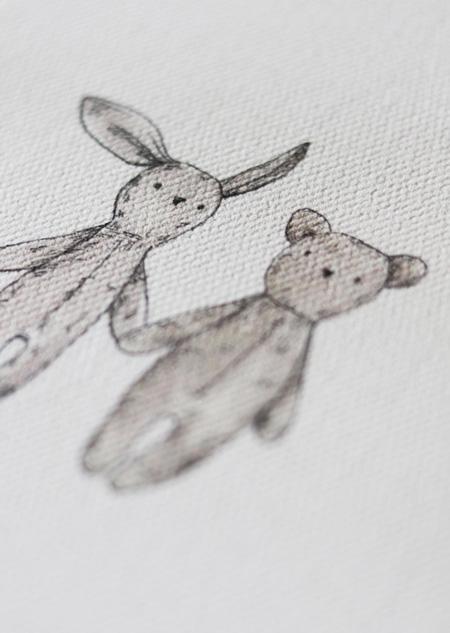 Textile poster - teddybear and rabbit