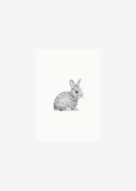 Label - 10x konijntje (zwart-wit)