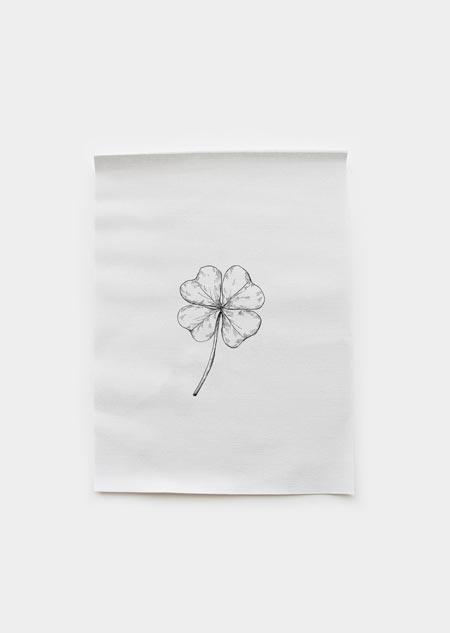 Textiel poster - klavertje vier