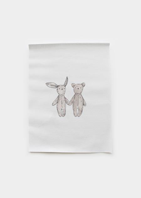 Textiel poster - knuffels