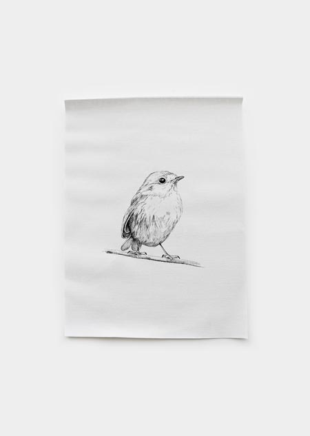 Textile poster - robin
