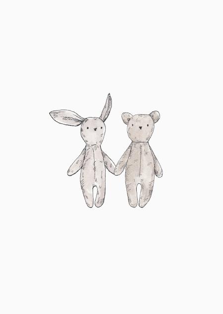 Knuffelbeer en konijn